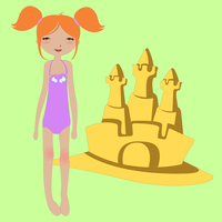 Vector Illustration of funny summer background  with the little girl and the sandcastle.