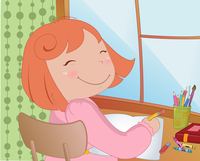 Vector Illustration of little schoolgirl sitting at a desk learning to write