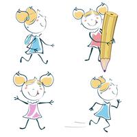 Vector Illustration of cartoon little schoolgirl icon educational set in children hand-drawing style 60016009493| 写真素材・ストックフォト・画像・イラスト素材|アマナイメージズ