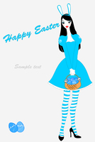 Vector illustration of funky easter gteeeting card with beautiful sexy girl