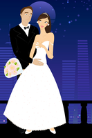 Vector illustration of cool sexy bride and groom on the urban romantic background 60016009540| 写真素材・ストックフォト・画像・イラスト素材|アマナイメージズ