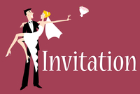 Vector illustration of funky wedding invitation with cool sexy bride and groom 60016009543| 写真素材・ストックフォト・画像・イラスト素材|アマナイメージズ