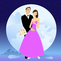 Vector illustration of beautiful couple in romantic night on the sky background with Giant full moon 60016009558| 写真素材・ストックフォト・画像・イラスト素材|アマナイメージズ