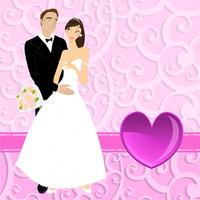 Vector illustration of funky wedding invitation with beautiful sexy couple 60016009559| 写真素材・ストックフォト・画像・イラスト素材|アマナイメージズ