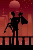 Vector illustration of cool sexy couple on the urban romantic background 60016009565| 写真素材・ストックフォト・画像・イラスト素材|アマナイメージズ