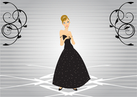 Vector Illustration of beautiful women in the evening dress
