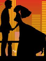 Vector illustration of cool bride and groom on the urban romantic background 60016009578| 写真素材・ストックフォト・画像・イラスト素材|アマナイメージズ