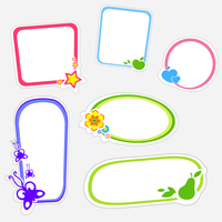 Vector illustration of cute retro frames on stickers style with funny floral elements 60016009591| 写真素材・ストックフォト・画像・イラスト素材|アマナイメージズ