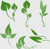 Vector illustration set of design plants silhouettes