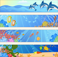 Vector illustration of Colorful banners set with creatures of the seas. Friendly kids style.