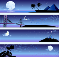 Vector illustration of romantic travel banners set with cartoon  skyline silhouettes