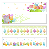 Vector illustration of Colorful easter banners
