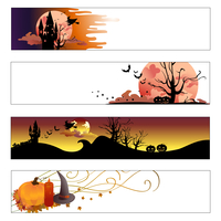 Vector illustration of halloween banners set