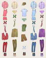 Vector illustration of cool Men clothes icon set in the different colors