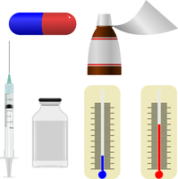 Set  of illustrations of medical  items