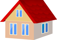 Vector illustration of houses with red tile