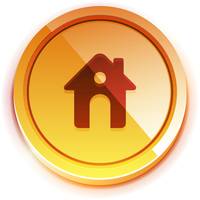 Glossy orange home button 60016010091| 写真素材・ストックフォト・画像・イラスト素材|アマナイメージズ