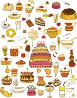 Set of vector sweets on white background 60016012046| 写真素材・ストックフォト・画像・イラスト素材|アマナイメージズ