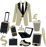 Vector illustration of bussiness man accessories set.