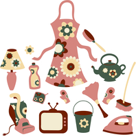 Vector illustration of housewife accessories icon set.