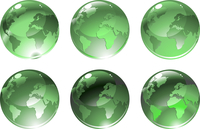 Vector Illustration of green globe icons with different continents