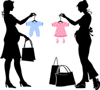 Vector illustration of two pregnant women during the shopping.