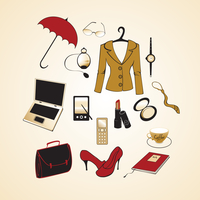 Vector illustration of different items related to business woman lifestyle.