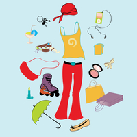 Vector illustration of different items related to sport and urban lifestyle.