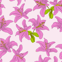 Seamless  background with flower lily. Could be used as seamless wallpaper, textile, wrapping paper or background 60016012944| 写真素材・ストックフォト・画像・イラスト素材|アマナイメージズ