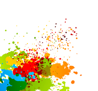 Bright colorful background with splashes of paint