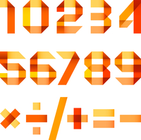 Spectral letters folded of paper orange ribbon - Arabic numerals