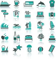 Set icons. Vacation, Recreation & Travel. Sports, Tourism. With reflection 60016013178| 写真素材・ストックフォト・画像・イラスト素材|アマナイメージズ