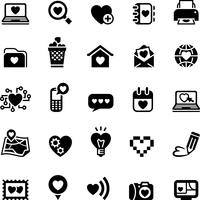 Set valentine's day icons, love on the Internet