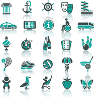 Set icons. Vacation, Tourism & Recreation. Travel, Sports. With reflection 60016013262| 写真素材・ストックフォト・画像・イラスト素材|アマナイメージズ