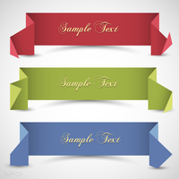Three origami banners for design. Vector eps10