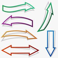 Paper style arrows. Vector set