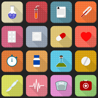 16 flat icons of health and medicine