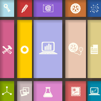 Elements for infographic on colored squares. Vector illustration