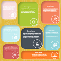 Colored elements of infographics on a  stylizedwooden background. Vector illustration