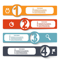 Color elements of infographics with symbols magnifying glass, clock, stopwatch and flag. Vector illustration
