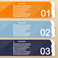 Colored banners as torn paper for infographics. Template for your design. Vector illustration