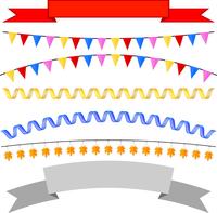 Set isolates flags, tape headers, garland. Vector illustration 60016013603| 写真素材・ストックフォト・画像・イラスト素材|アマナイメージズ