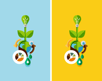 Flat design nature concept: green energy, save the planet, water. Can be used for web banners, printed materials
