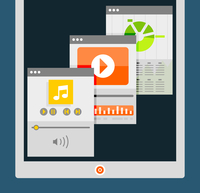 Tablet apps trendy flat design 60016014225| 写真素材・ストックフォト・画像・イラスト素材|アマナイメージズ