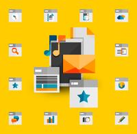 Tablet apps trendy flat design 60016014226| 写真素材・ストックフォト・画像・イラスト素材|アマナイメージズ