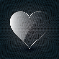 glass heart on a metal background