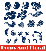 vector set: calligraphic design elements and drops 60016015380| 写真素材・ストックフォト・画像・イラスト素材|アマナイメージズ
