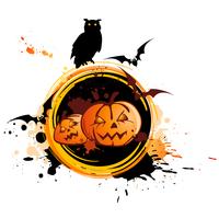Halloween banner  with owl, pumpkin and grunge background 60016015722  写真素材・ストックフォト・画像・イラスト素材 アマナイメージズ