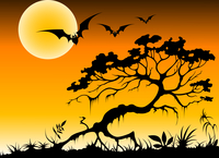halloween background with bats and silhouette of tree by moon night 60016015726| 写真素材・ストックフォト・画像・イラスト素材|アマナイメージズ