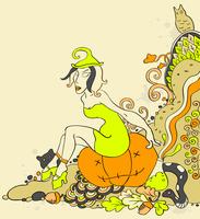 Halloween background  with witch sitting on a pumpkin 60016015729| 写真素材・ストックフォト・画像・イラスト素材|アマナイメージズ
